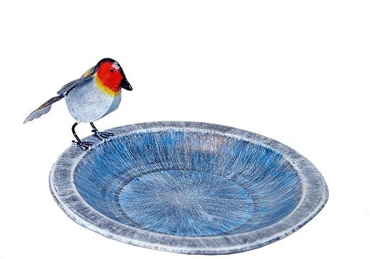 Bebedero para pájaros Amicaso con petirrojo de metal, decoración para jardín: Amazon.es: Jardín