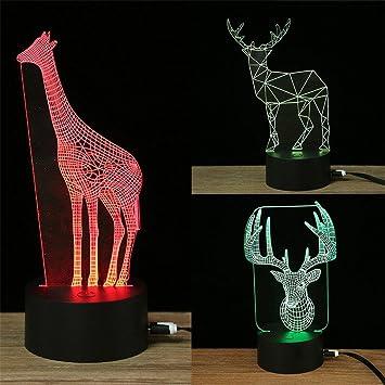 Nuit Cerf 3d Redoi Arbre Lumière Led Couleur Touch Illusion 7 Noël yb6gf7vY