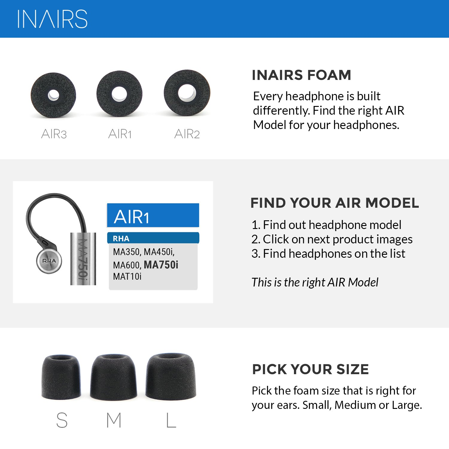 Noise Isolation Earphone Cushions for In Ear bud /& Headphone Memory Foam Earpad S//M//L IN/ΛIRS AIR3 - 3 Pairs of Effective Noise Cancelling In Ear Foam Tips Rich Bass Replacement for Silicone bud