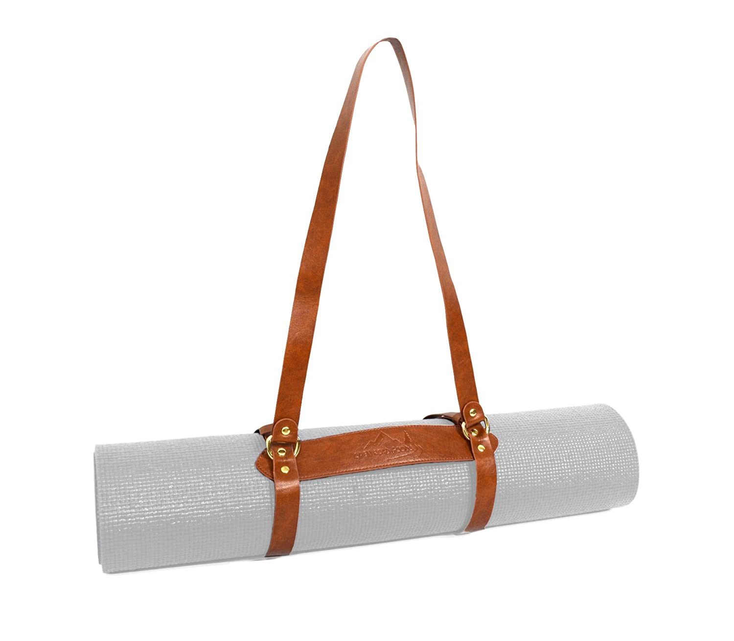 e41d48bcd6 Amazon.com   Open Road Goods Vegan Leather Yoga Mat Carrier  Sling Adjustable Blanket Strap   Sports   Outdoors