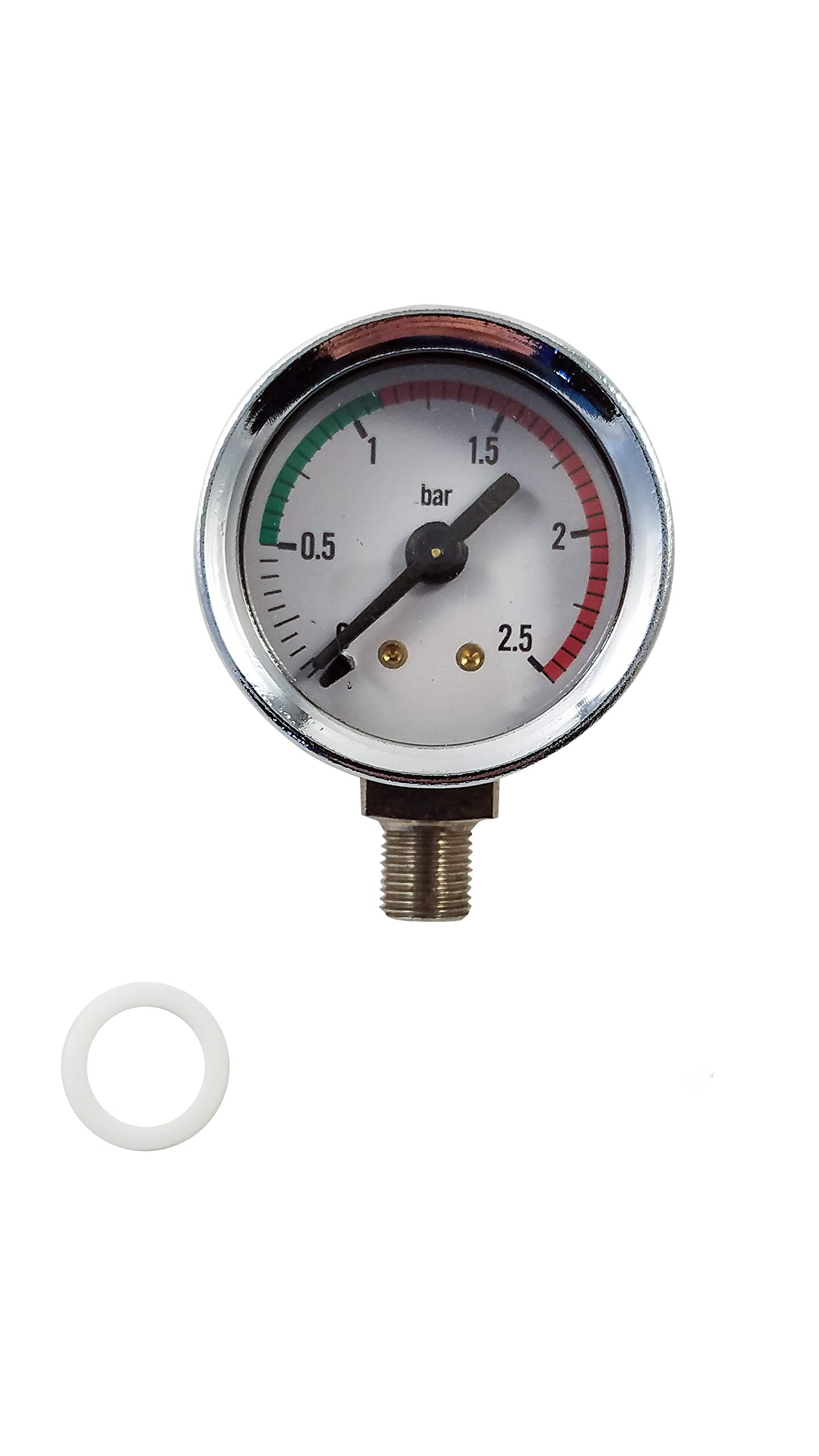 La Pavoni Espresso Machine Boiler Pressure Gauge - Chrome - For Lever Pre and Post Millenium Europiccola, Professional and Stradivari. by La Pavoni