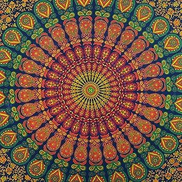 Small Twin Blue Indian Hippie Mandala Tapestry Bedspread Beach Blanket Boho Dorm Bohemian EYES OF INDIA