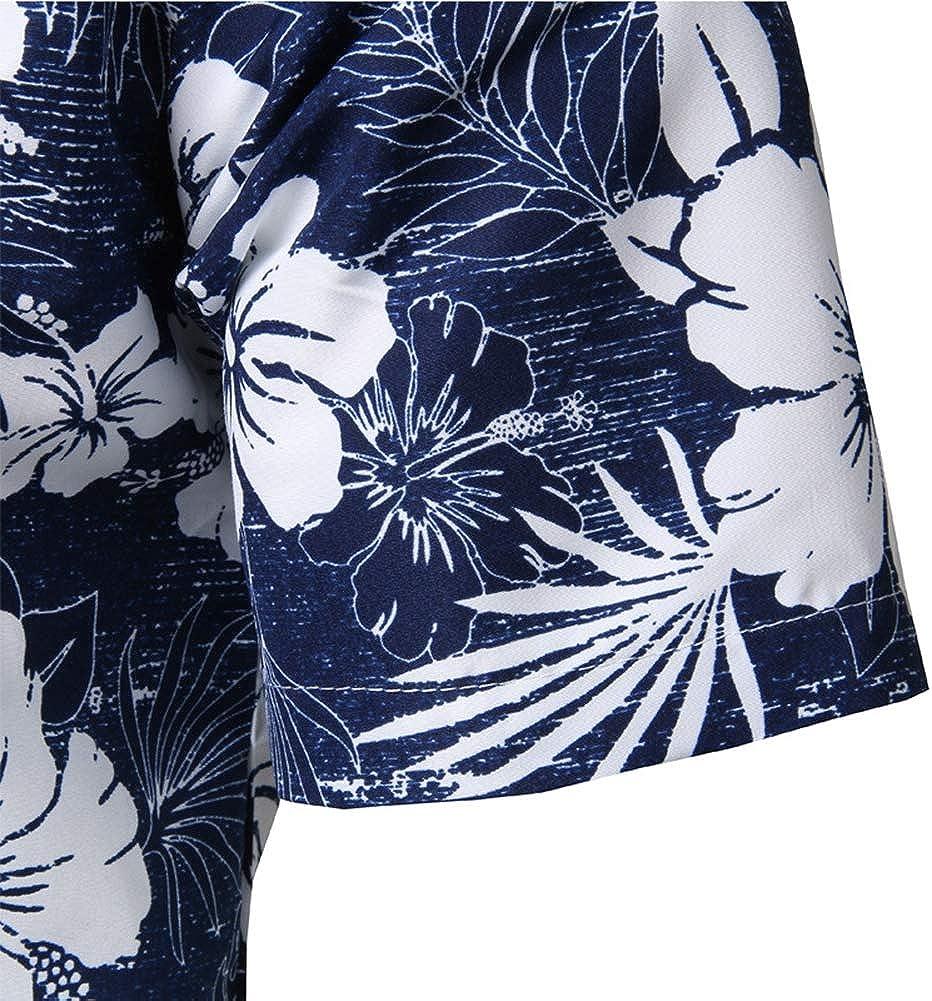 1,M Mens Hawaiian Printed Shirt Mens Summer Beach Short Sleeve Floral Shirts