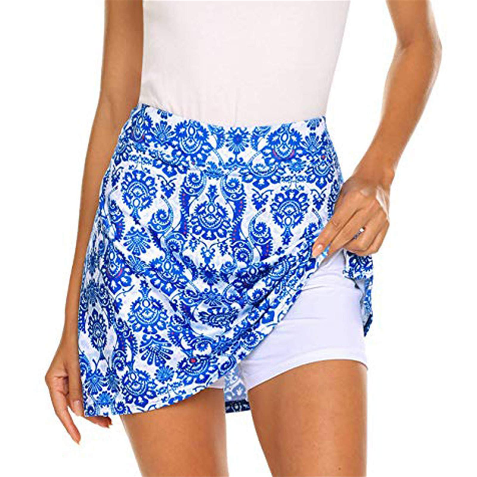 Thenxin Women's Active Skorts Running Tennis Golf Sports Lightweight Skirt Built in Shorts Pockets (White, S) by Thenxin
