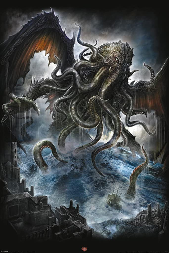Pyramid America Spiral Cthulhu Rising from Depths of Oceans Dark Gods Cool Wall Decor Art Print Poster 24x36
