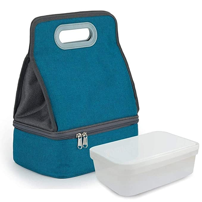 Expandable Lunch Bag Double Layer Cooler Tote Bag for Adult Women and Men - Idea for Beach, Picnics, Road Trip, Meal Prep, Everyday Lunch to Work or School, Peacock Blue