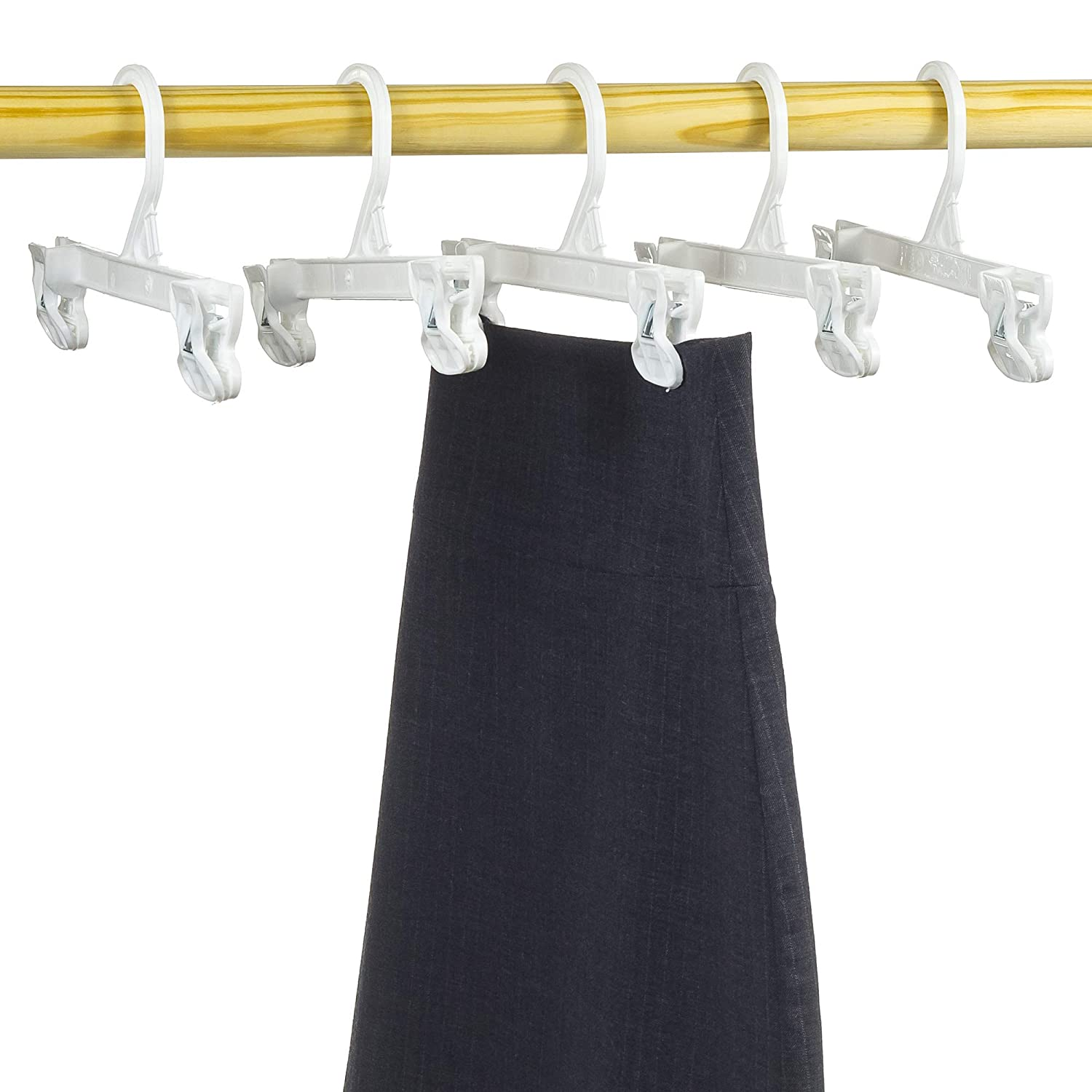 Pack of 10 8 Inch Mainetti 1004 White All Plastic Hangers with Sturdy Plastic Non-Slip Clips Great for Pants//Skirts//Slacks//Bottoms