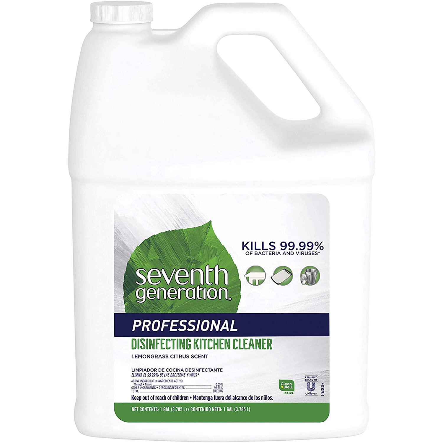 Seventh Generation Professional Disinfecting Kitchen Cleaner Refill, Lemongrass Citrus, 256 Fl Oz (Pack of 2)