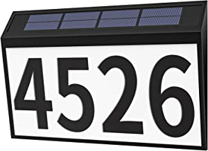 HomLux House Numbers Sign, Solar Powered LED Illuminated Address Number Light for Home Yard Street, IP44 Rainproof Address Plaques Packed with 3 Sets Numbers (0-9) & 26 Letters Self Stickers-Black