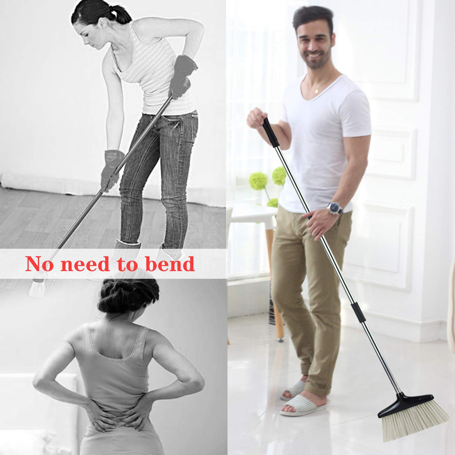 Broom and Dustpan Set with Lid [2019 New Design] Outdoor Indoor Broom Dust Pan 3 Foot Angle Heavy Push Combo Upright Long Handle for Kids Garden Pet Dog Hair Wood Floor Sweep Kitchen House (Black 02) by OLLSDIRE (Image #2)