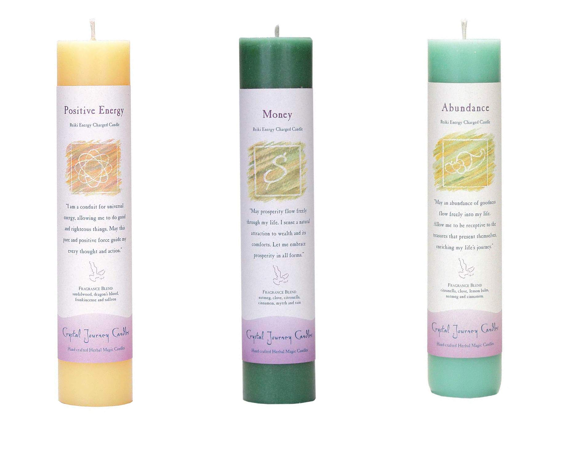 Crystal Journey Reiki Charged Herbal Magic Pillar Candle Wealth and Health Bundle (Positive Energy, Money, Abundance)
