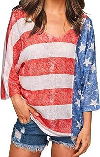 American Flag V-Neck Blouse Women/'s Summer V-Neck Bat Sleeve Cropped Tops 4th of July Beach Shirt