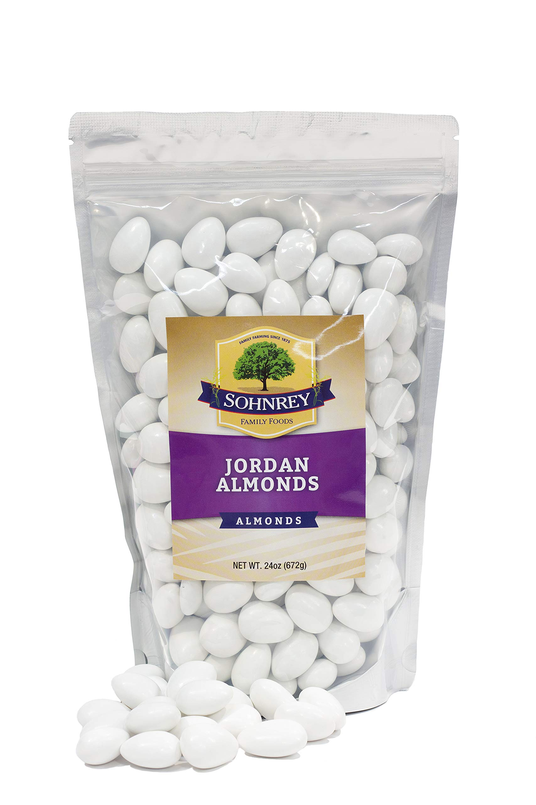 White Jordan Almonds Wedding Shower Party Favor Premium Fine Candied Nuts (1.5 lbs) Sohnrey Family Foods by Sohnrey Family Foods