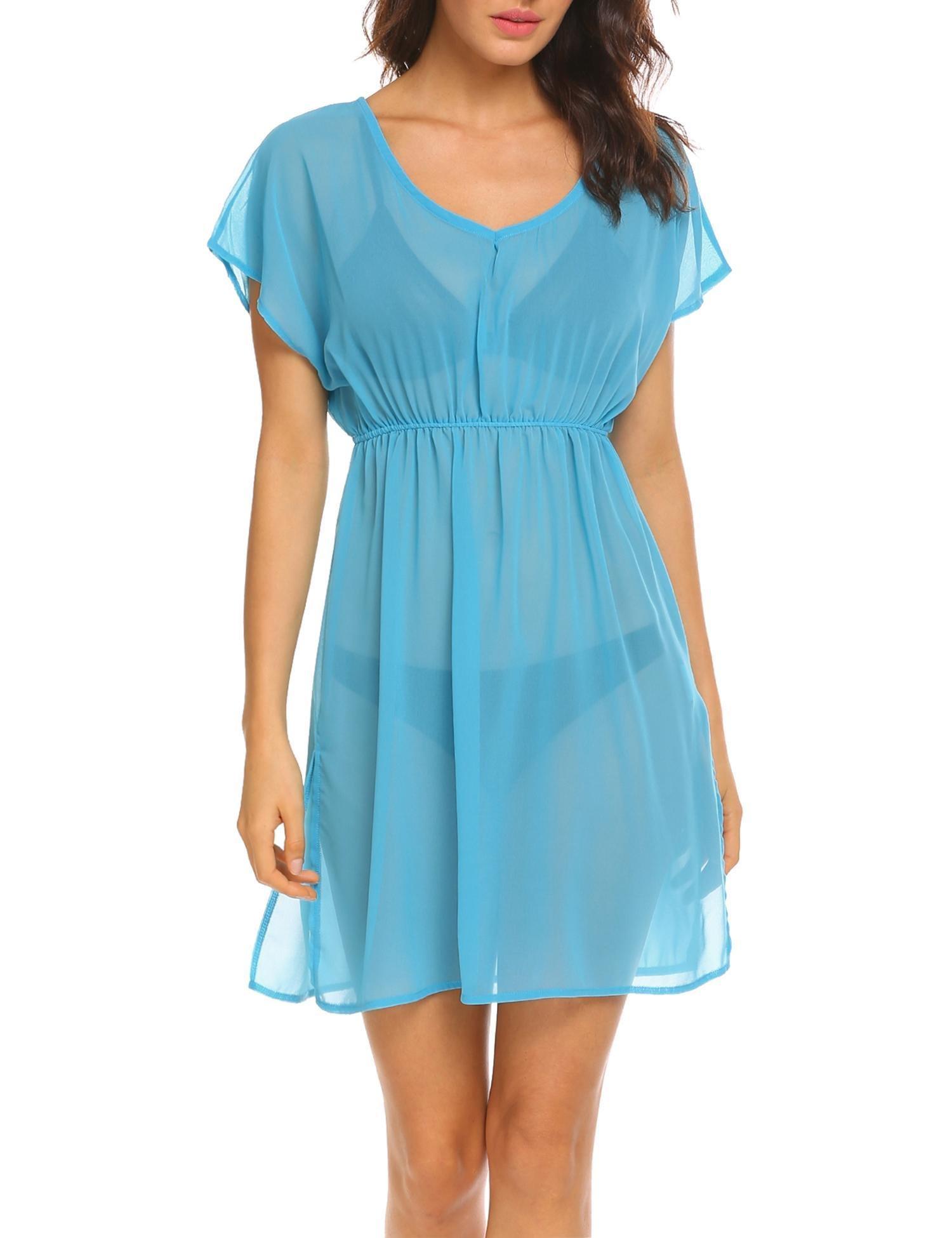 Ekouaer Womens Bathing Suit Swimwear Beach Cover Up Bikini Coverups Swimsuit Dress (Blue,S)