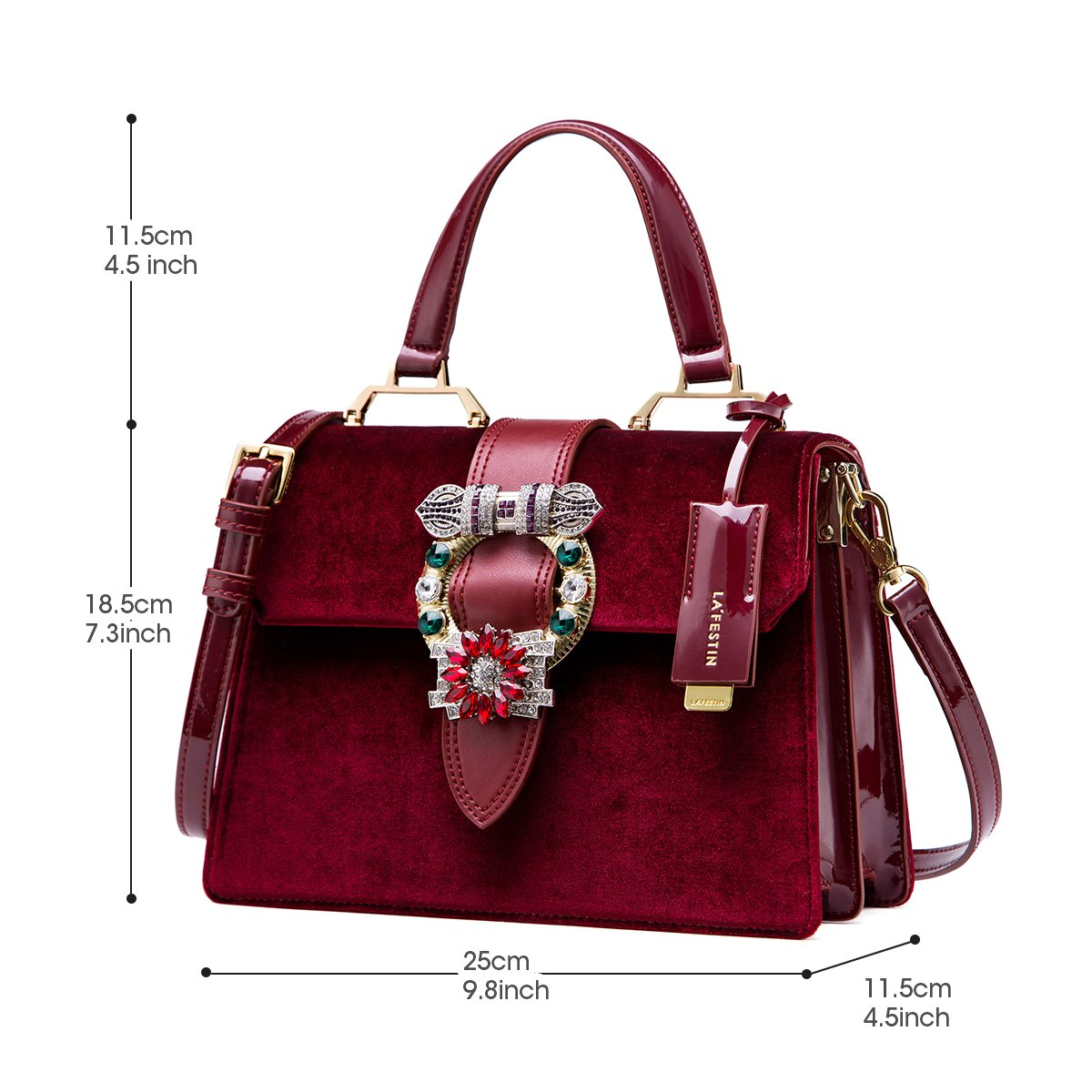 27ae479379a7 Amazon.com  LA FESTIN Vintage Burgundy Bags for Women Velvet Leather Shoulder  Purses with Jewels Red  LAFESTIN