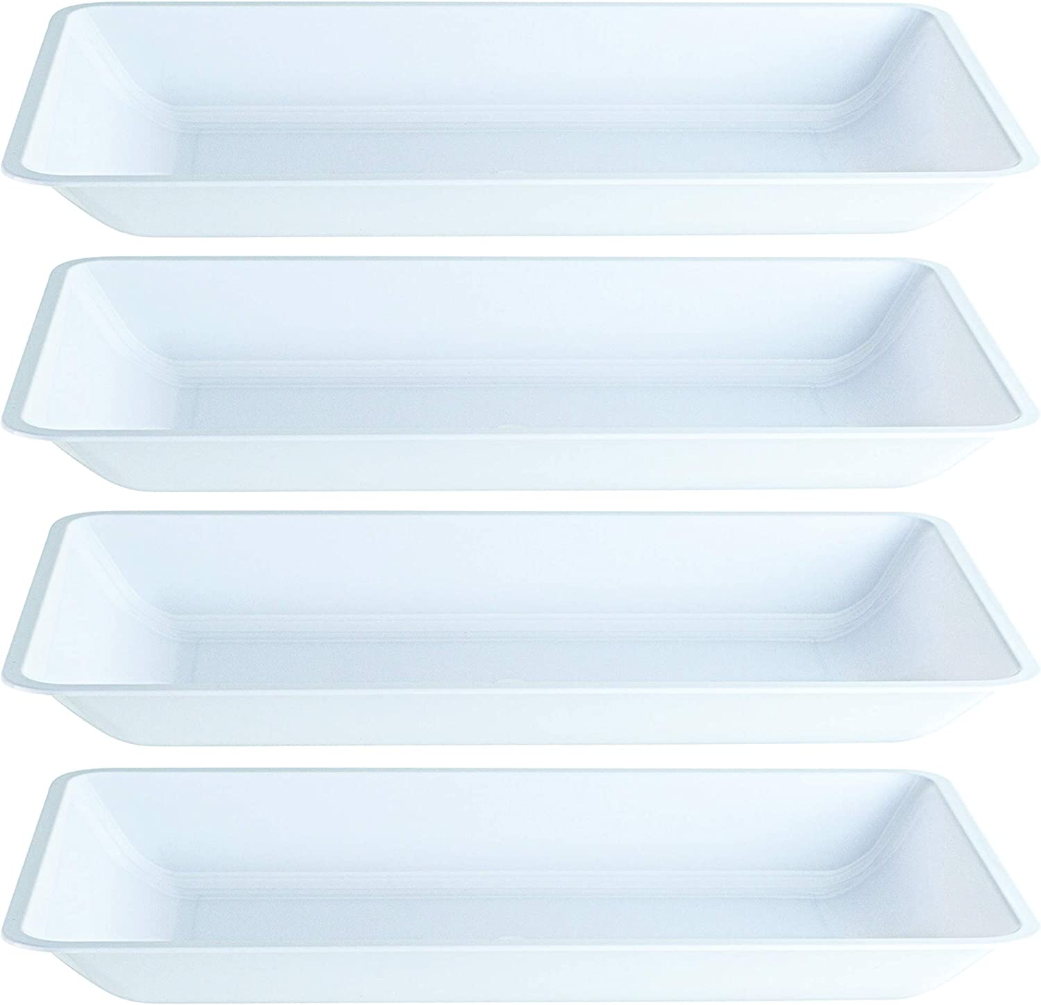 Plasticpro Plastic Serving Trays - Shallow Serving Platters Rectangle 9.5'' X 14'' Disposable Party Dish White, Pack of 4
