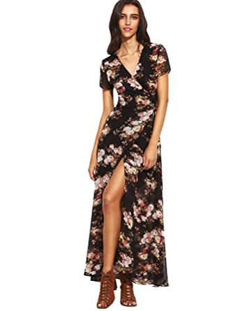 Milumia Women&-39-s Vintage Floral Print Split Wrap Maxi Dress at ...