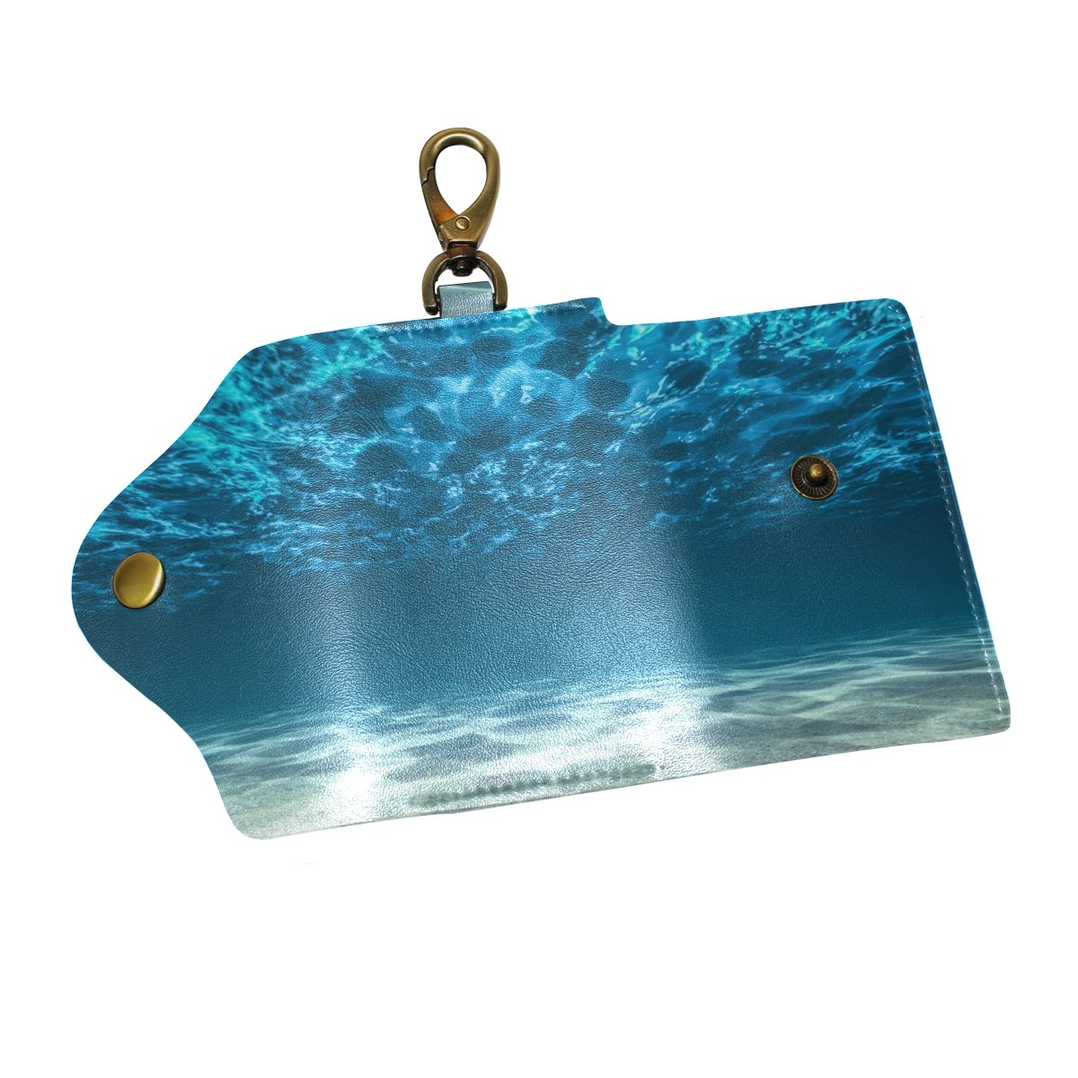 KEAKIA Ocean Bottom And Surface Leather Key Case Wallets Tri-fold Key Holder Keychains with 6 Hooks 2 Slot Snap Closure for Men Women