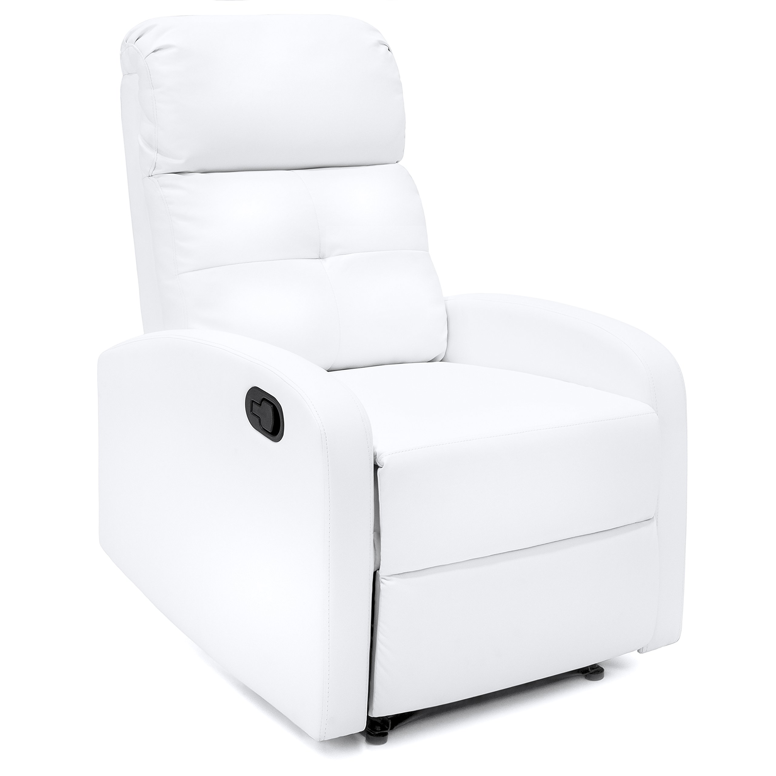 Best Choice Products Furniture Home Theater PU Leather Recliner Club Chair Lounger (White)