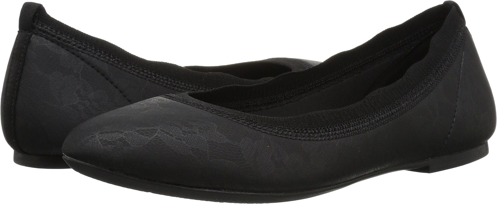 Skechers Women's Cleo Place Lace Printed Stretch Fabric Skimmer Ballet Flat, Black, 8.5 M US