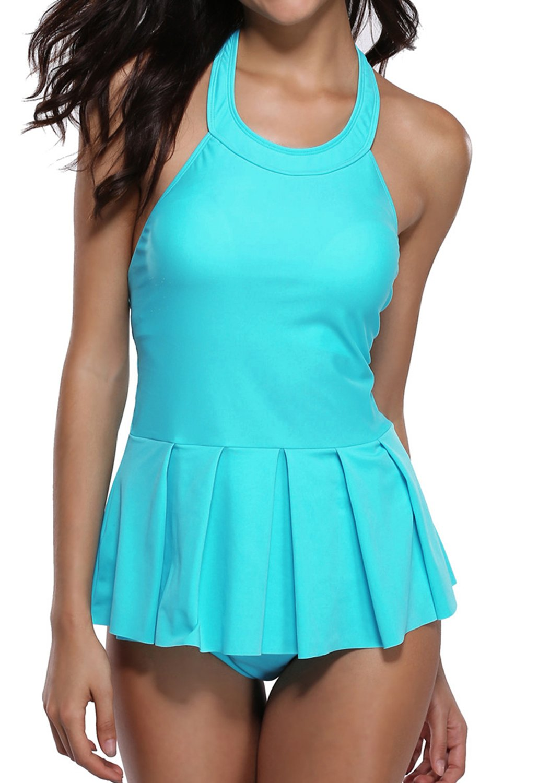 BeautyInレディースホルターTwo Piece Tankini SwimsuitsペプラムBathing Suit with Shorts B0769656B5 フローラル Medium/4-6
