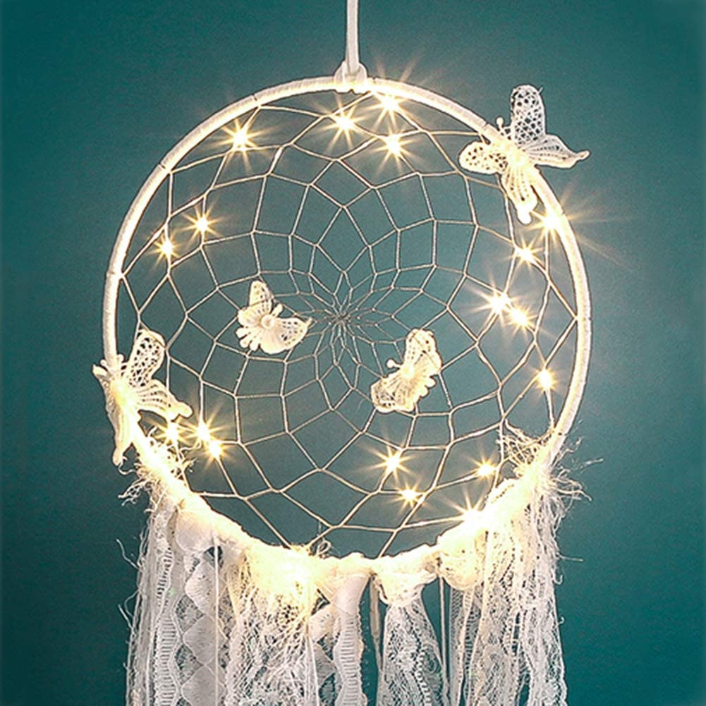 Miyanuby White Butterfly Dream Catcher with Lights Finished Home Garden Decoration Crafts Pendants Wind Chimes Hanging Decorations