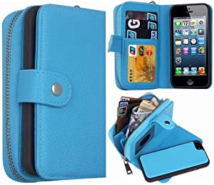 iPhone 5S/SE Wallet Case, HYSJY Magnetic Detachable PU Leather Wallet Purse for Women Men with Zipper, Credit Card Slots, Card Holer,Flip Slim Cover Case Fit iPhone 5/5S/SE (Zip-Blue)