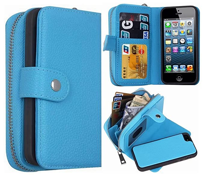 reputable site 520e4 59bf6 iPhone 5S/SE Wallet Case, HYSJY Magnetic Detachable PU Leather Wallet Purse  For Women Men with Zipper , Credit card Slots, Card Holer,Flip Slim Cover  ...
