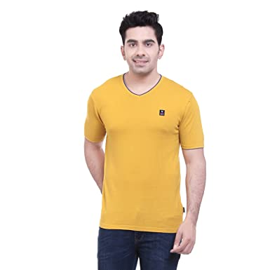 Godfrey men s Half Sleeves V Nek casual Tshirts- Mustard Color ... 5df8fef9b2ae