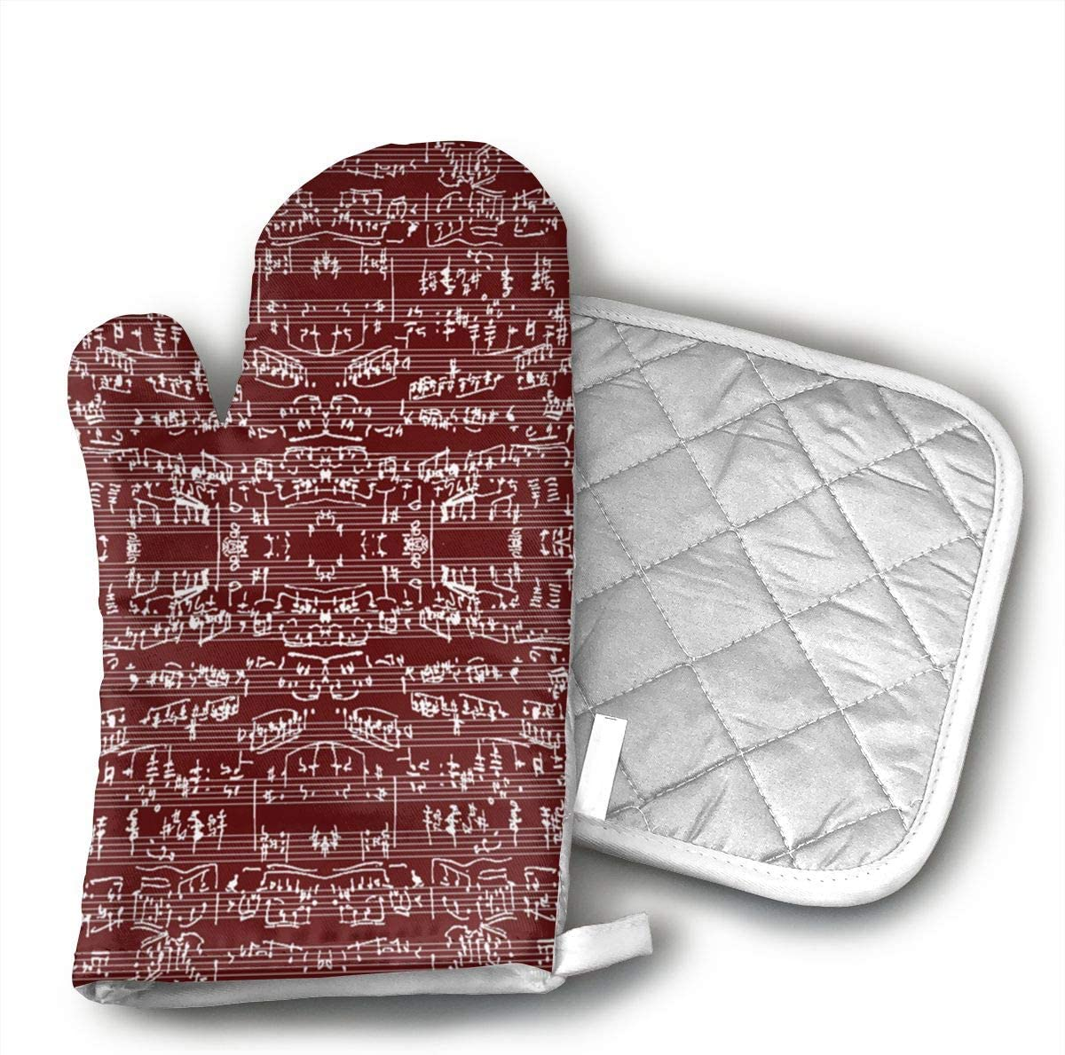 UYUOSEY Hand Written Sheet Music On Burgundy Small Fabric Cotton Oven Gloves Baked a Pair of Anti Burns Gloves Thick Special Kitchen Microwave Gloves
