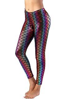 bb757c2874b164 Alaroo Halloween Shiny Fish Scale Mermaid Leggings for Women Pants S ...