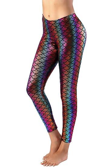 b86c05c406aba Nihoe Womens Shiny Fish Scale Mermaid Leggings at Amazon Women's ...