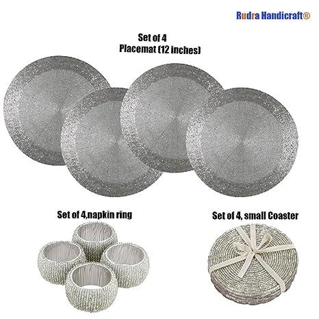 Paquete hecho a mano de 4, manteles individuales redondos de plata para mesa de comedor