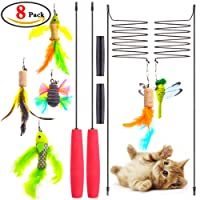 GeMoor Cat Toys Interactive Toy Cat with 6 Refills Feather Cat Toys for Indoor Cats Kitten Catnip Or Cat