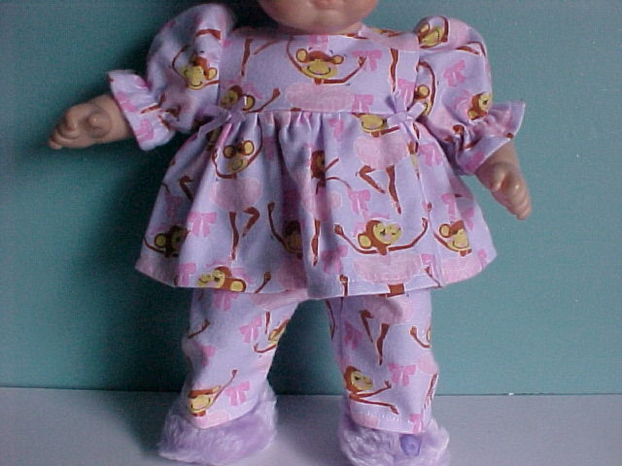 Ballerina Monkey Flannel Pajamas fits Bitty Baby Dolls - Handmade in USA!