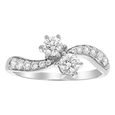 342b324c6f3 Olivia Paris 14k White Gold Certified 2 Stone 3/4 Carat ctw Engagement Ring  (