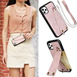 MIAODAM Kickstand Shockproof Crossbody iPhone 11 Pro Case, iPhone 11 Pro Wallet Leather Case with Card Slot Holder Adjustable Chain Strap for iPhone 11 Pro 5.8 inch Pink