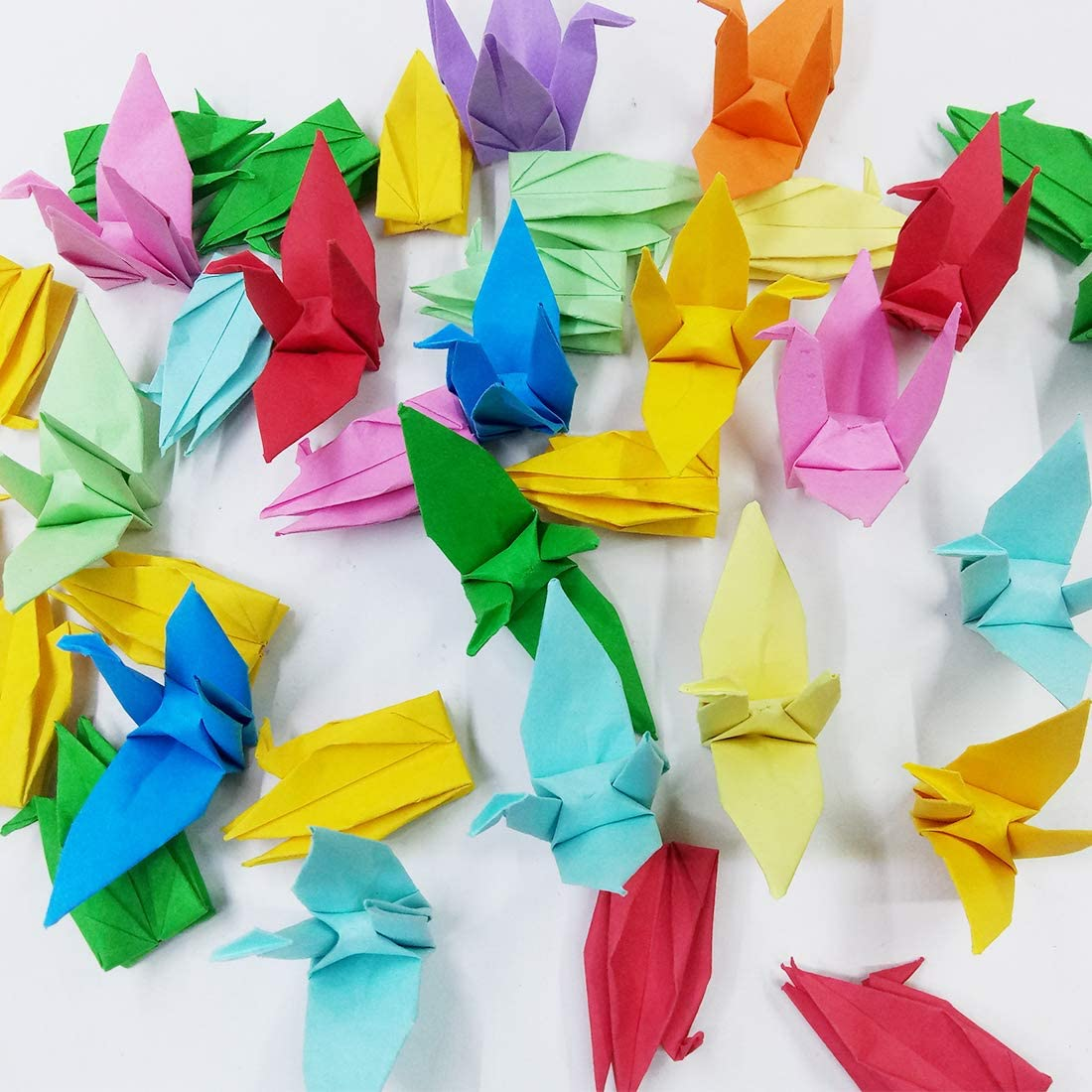 Morndew 50 PCS Origami Paper Cranes Folded DIY Paper Cranes for Wedding Party Birthday Party Children Party Backdrop Home Decoration - Mixed Colors