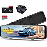 PORMIDO 12 inch Mirror Dash Cam with Detached Front Camera,Anti Glare Touch Screen Full HD 1296P,Car Rear View Backup Camera