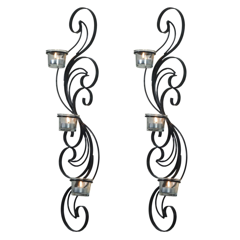 adeco decorative iron vertical candle tealight pillar