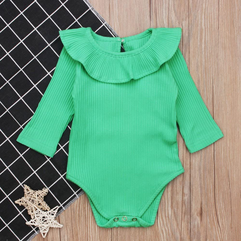 Lurryly Toddler Baby Boys Girls Solid Ruffles Romper Jumpsuit Outfits Clothing 3-18 M