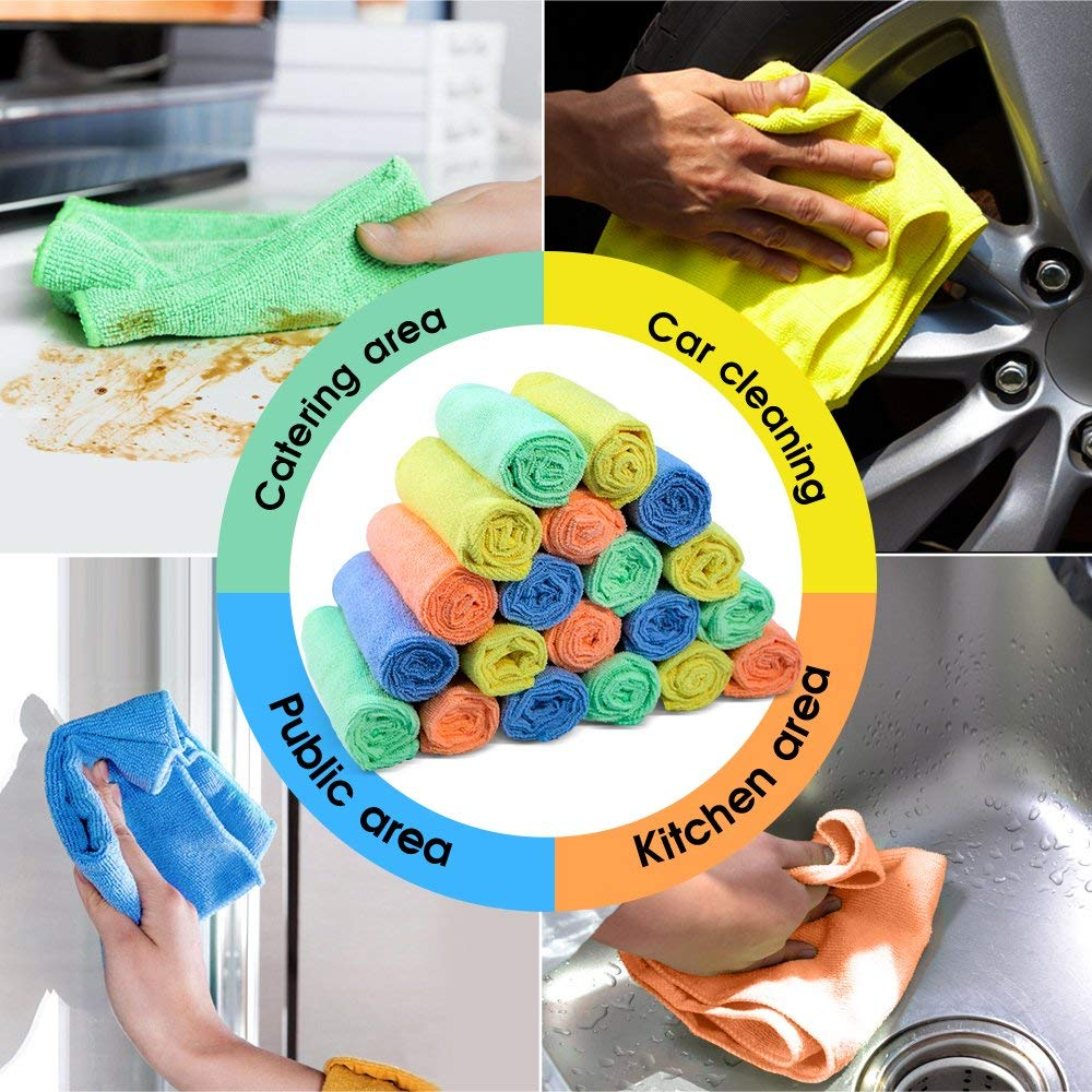 MASTERTOP 20 Pack Reusable Microfiber Cleaning Cloth for Kitchen Car Cleaning Soft Cleaning Rags for Glass Stainless Steel Without Chemicals