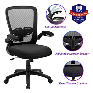 Office Chair, ZLHECTO Ergonomic Desk Chair with Adjustable Height and Lumbar Support, High Back Mesh Computer Chair with Flip up Armrests for Conference Room - 300lb Weight Capacity (1669-Black)