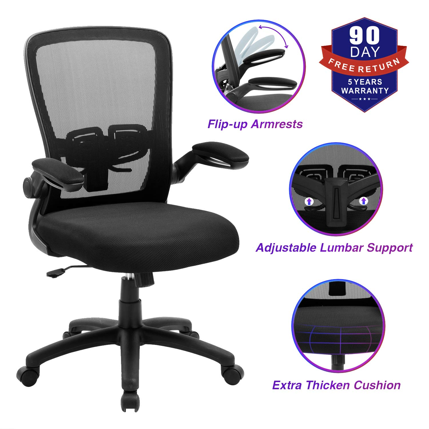 Office Chair, ZLHECTO Ergonomic Desk Chair with Adjustable Height and Lumbar Support, High Back Mesh Computer Chair with Flip up Armrests for Conference Room - 300lb Weight Capacity, Black