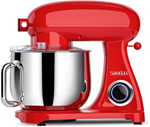SanLidA Pro Stand Mixer, 800W 8.5-Qt. Kitchen Mixer with Dishwasher-Safe Dough Hooks, Flat Beaters, Whisk & Pouring Shield, SM-1522NM, Monarch Red