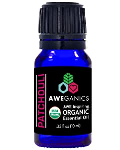 Aweganics Pure Patchouli Oil USDA Organic Essential Oils, 100% Pure Premium Therapeutic Grade, Best Aromatherapy Scented-Oils for Diffuser, Home, Office, Personal Use - 10 ML - MSRP $14.99