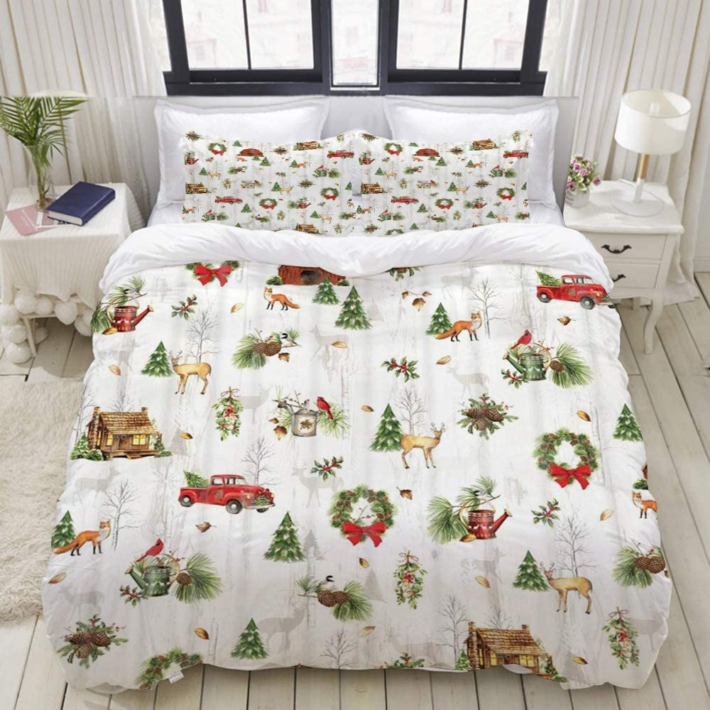 """GLONLY 3pcs Set,Chrismas Red Retro Truck Carrying Xmas Tree Fox and Squirrel Pine Nut Vintage Farmhouse Style Illustration,Latest Duvet Cover & 2 Pillow Shams, Soft Microfiber Quilt Cover 104"""" 88"""""""
