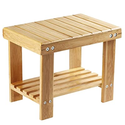 Utoplike Step Stool, Bamboo Small Stool for Kids,Bedside Stepstools for High Beds, Foot Rest Stool with Storage Shelf for Bedroom, Shower, Non-Slip Light Weight: Kitchen & Dining