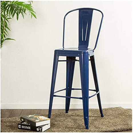 Super Glitzhome Vintage Metal Counter Bar Stool High Chairs Indoor Outdoor Barstool Dining Chiars With Back Navy Blue Set Of 2 Caraccident5 Cool Chair Designs And Ideas Caraccident5Info