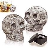 Palksky Whiskey Stones-Hand Carved Skull Bone Chill Rocks Whiskey Stones for Whiske 100% Natural Pure Granite for Whiskey Sco